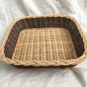 Multi-colored Square Wicker Basket